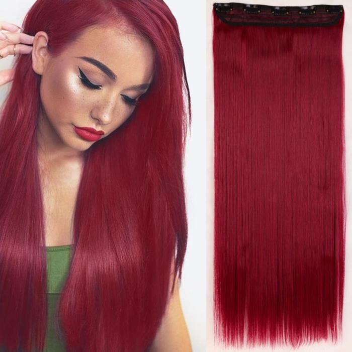 Extension a Clip Cheveux Extension Cheveux Monobande [1 Pièce 5 Clips] Pose & Dépose Facile [26--66CM][Rouge Violet] - Lisse