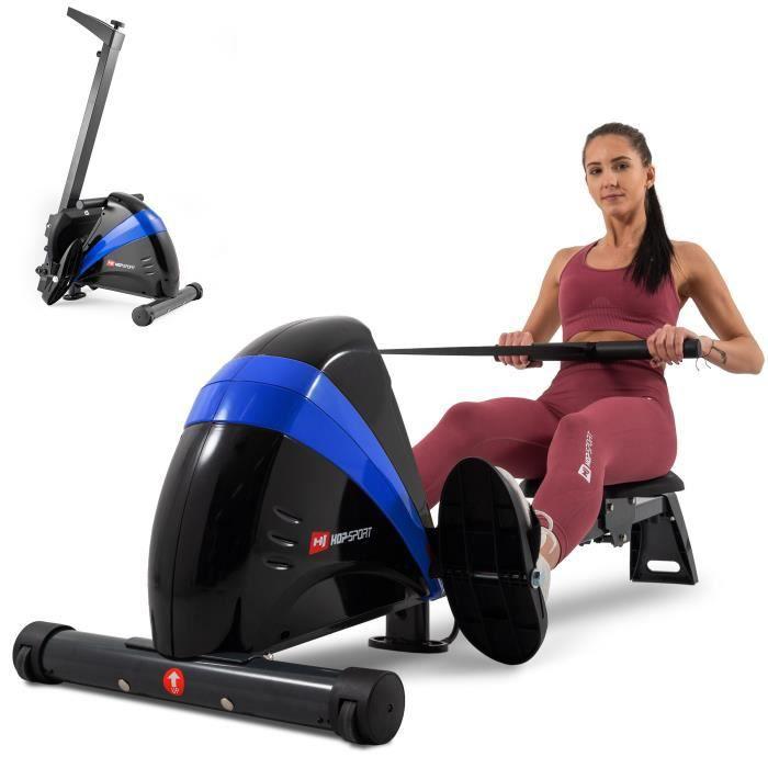 Hop-Sport Rameur HS-030R Boost Machine à Ramer équipée de l'ordinateur Bleu/Noir