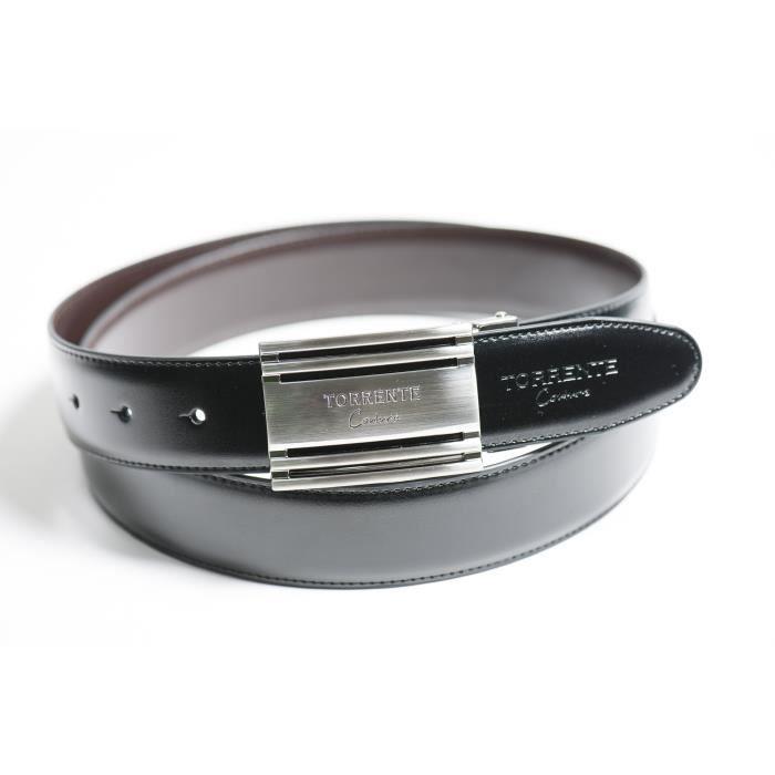 Torrente - Ceinture Reversible Noir/Marron - Cuir - Taille Ajustable - Boucle détachable - Ceinture homme Couture 17