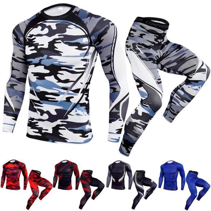 Ensemble de Vetements de Sports Homme compression Fitness Yoga Vetements Homme T-Shirt Manches Longue+ Pantalon