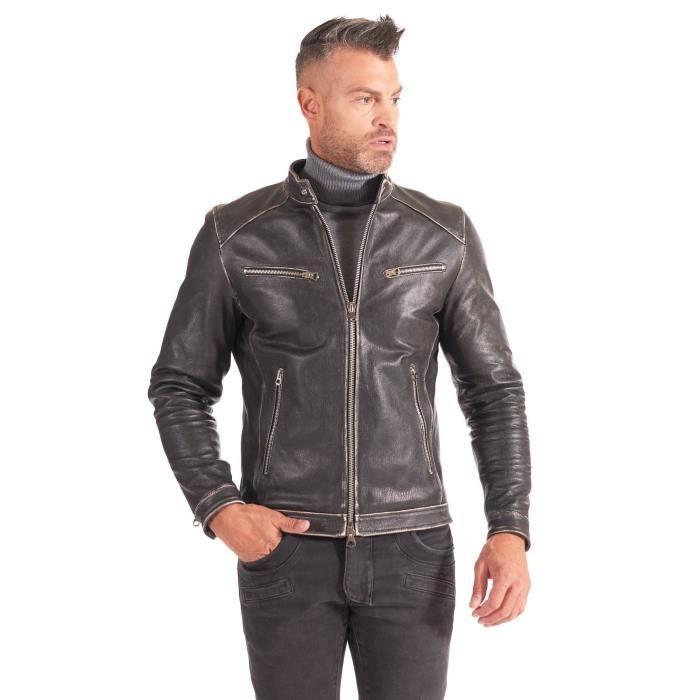 Blouson cuir noir veste moto aspect vintage