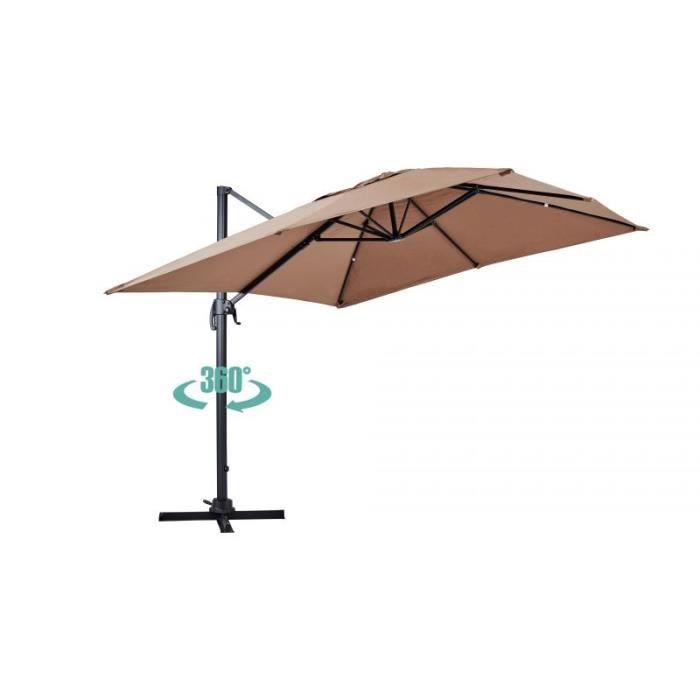 Parasol déporté rotatif, structure en aluminium, 4x3m modèle Caserta Beige