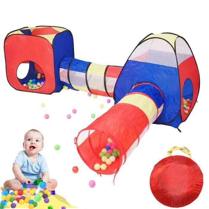 Pop-up Tunnel Activité Tente de Jeu Piscine à Boules Enfants Jardin Maison de Jeu Intérieure et Extérieur Cadeau (incl.100 balles)