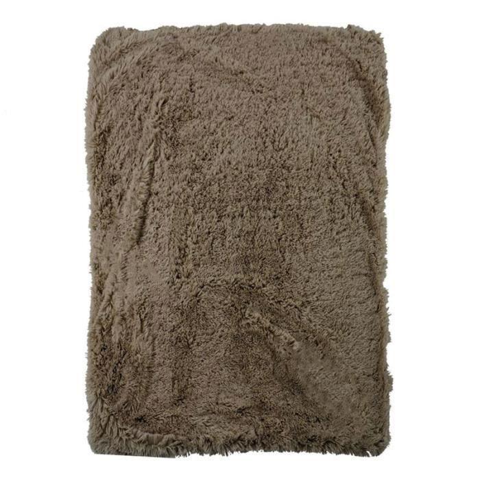 NEO YOGA - Plaid à poils longs extra-doux taupe 120x150