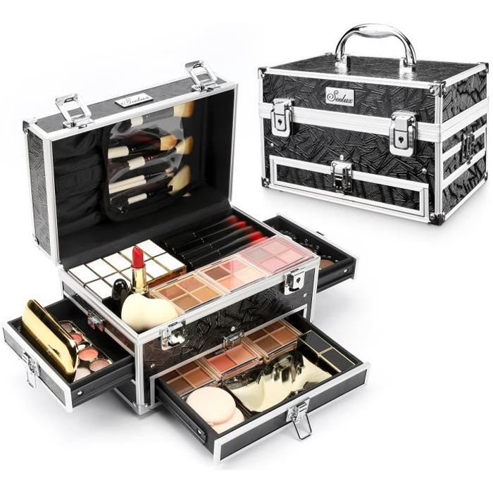 Yorbay Mallette Maquillage Beauty Case Valise Boîte à Maquillage avec Sac de Rangement Cosmétique et Trois Petits Tiroirs