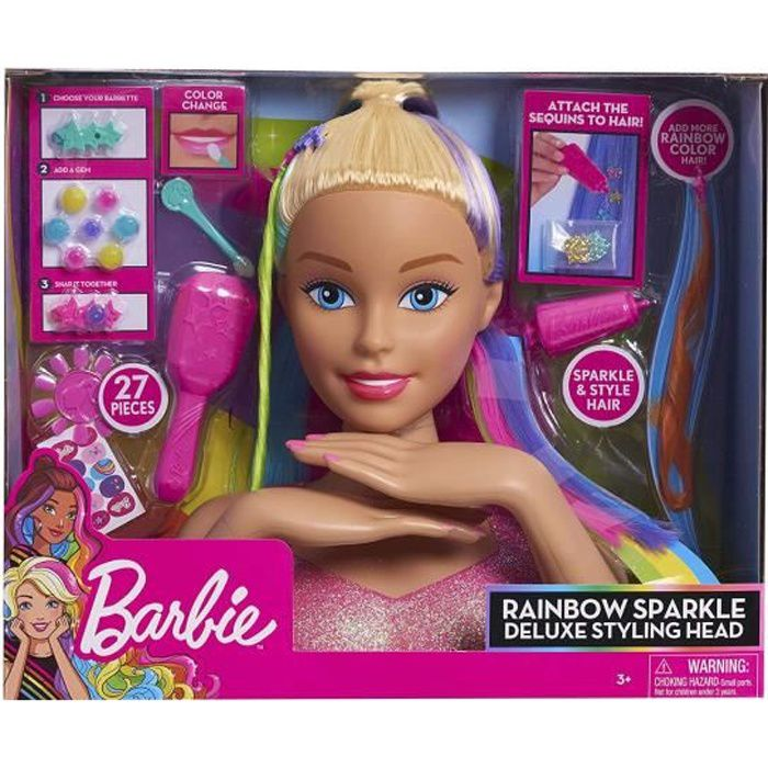 Barbie Tête Pour Coiffer Les Cheveux Arc En Ciel Deluxe Avec 27 Accessoires