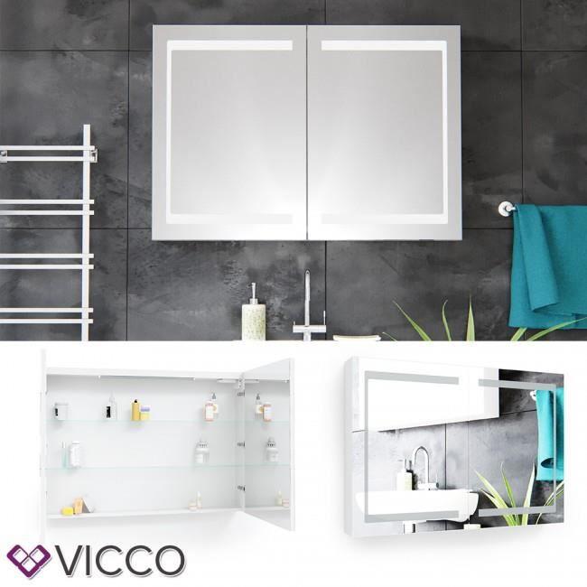 VICCO LED miroir armoire blanc salle de bains armoire salle de bains miroir  salle de bains miroir éclairage (100 cm)