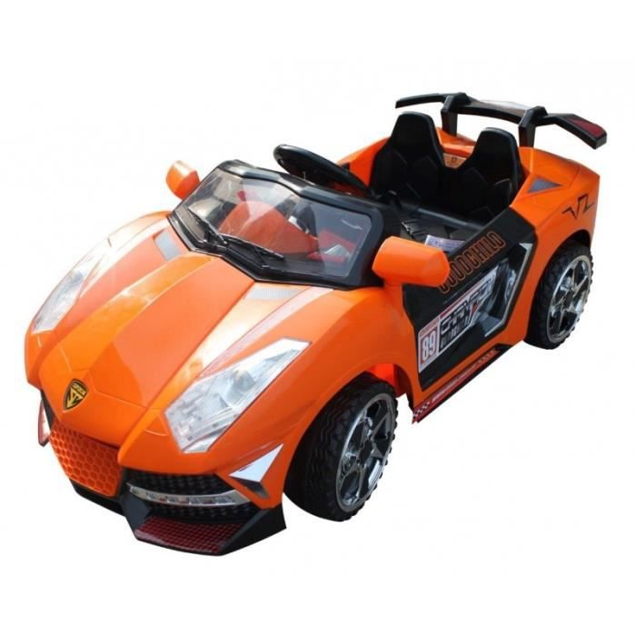 voiture de sport lectrique orange pour enfant 12v achat vente voiture voiture de sport. Black Bedroom Furniture Sets. Home Design Ideas