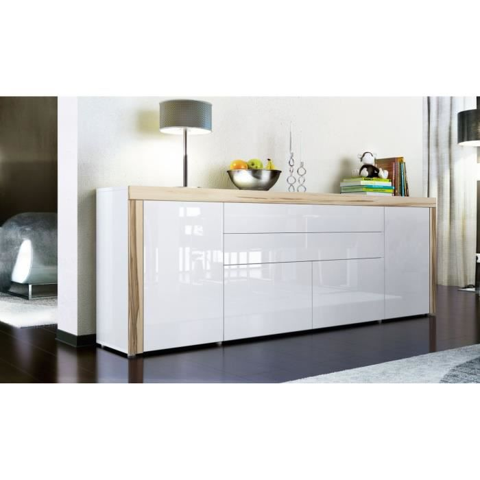 buffet enfilade blanc au contour bois nervur avec achat vente buffet bahut buffet. Black Bedroom Furniture Sets. Home Design Ideas