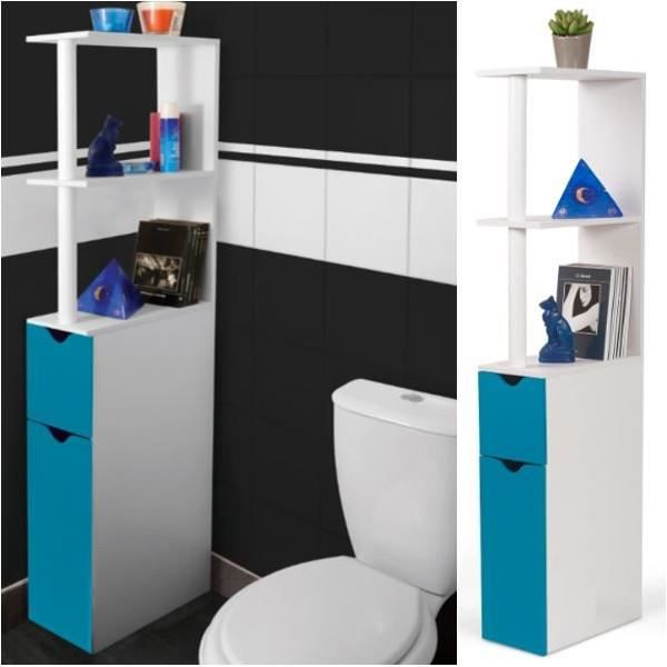 meuble wc tag re bois gain de place pour toilette porte bleue achat vente colonne armoire. Black Bedroom Furniture Sets. Home Design Ideas