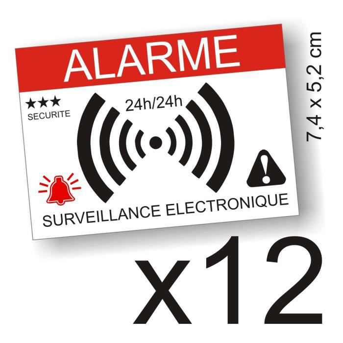 Autocollants dissuasifs alarme surveillance lectronique for Alarme maison securite good deal