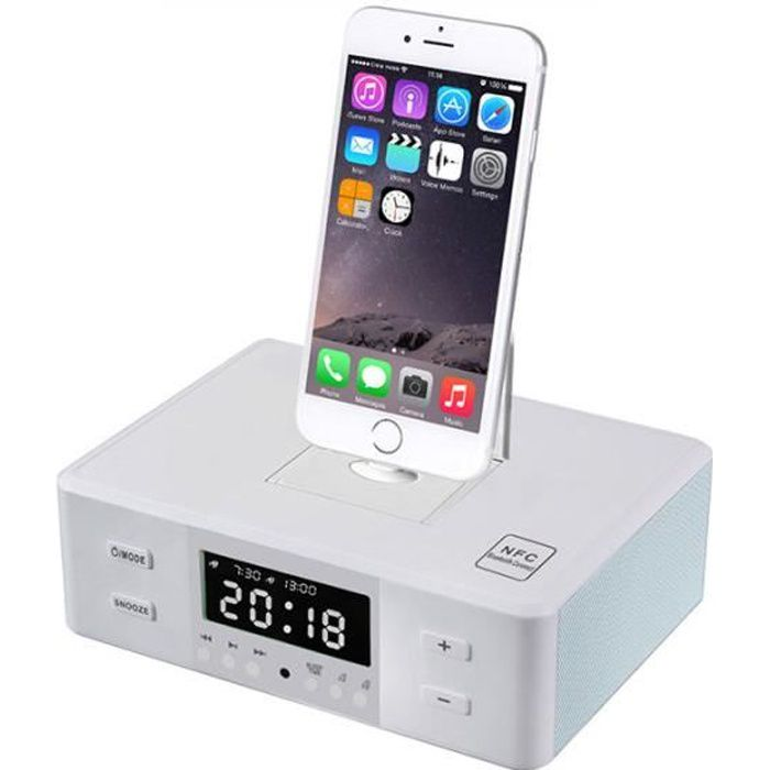 Dock Station Micro USB - 30 - 8 Broches iPhone Alarme Horloge Bluetooth Enceinte FM NFC ...