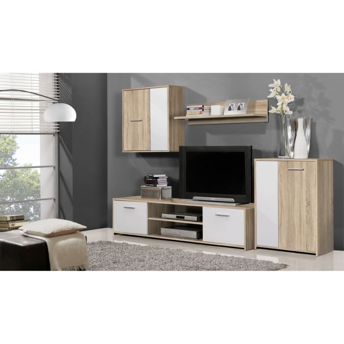 Ensemble meuble tv mural ch ne blanc 220 00 cm achat for Ensemble salon moderne