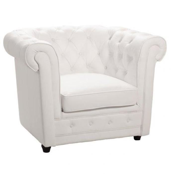 fauteuil chesterfield deluxe en cuir blanc capiton achat. Black Bedroom Furniture Sets. Home Design Ideas