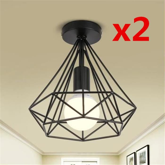 LUSTRE ET SUSPENSION MARQUEUNE Lot de 2 Plafonniers Industriels - Cage