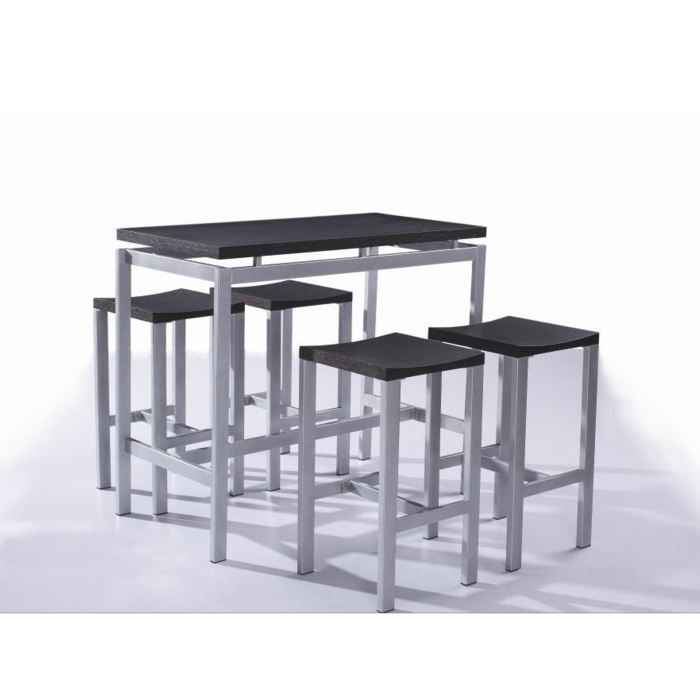 table haute et 4 tabourets madrid achat vente mange debout table haute et 4 tabourets. Black Bedroom Furniture Sets. Home Design Ideas