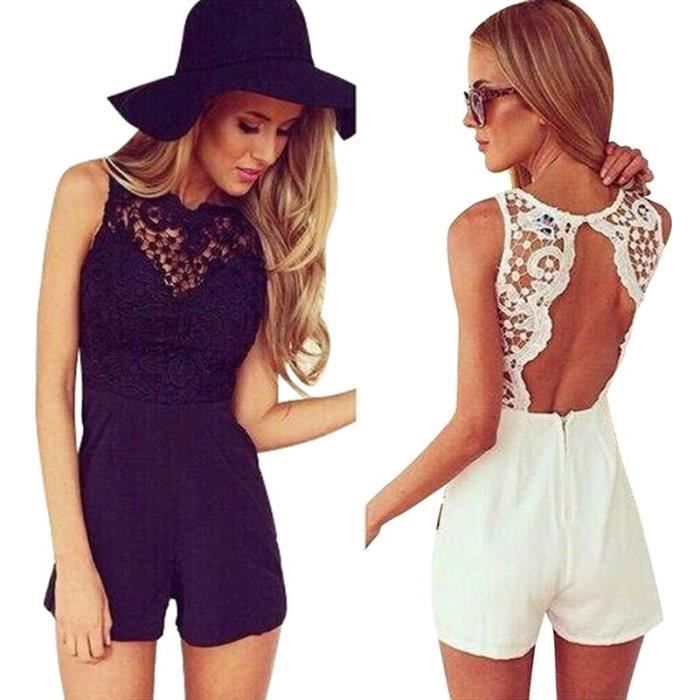 t femmes sexy celeb dentelle combishort party soir e ladies dress short jumpsuit blanc achat. Black Bedroom Furniture Sets. Home Design Ideas