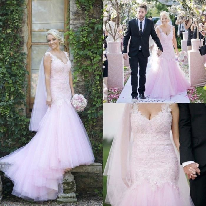 Robe De Mariee Mariage Rose Pale Longue Traine A Bretelle Sirene Col V Dentelle Perle Strass Tulle Haute Couture Glamour Rose Achat Vente Robe De Mariee Cdiscount