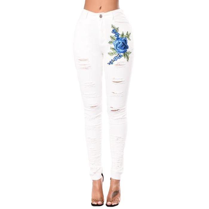 Femmes Déchiré fleur rose brodé Skinny Slim Denim Pantalon Jeans