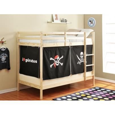 lits superpos s avec rideaux flibustier ii 2 90 190cm pin massif achat vente lits. Black Bedroom Furniture Sets. Home Design Ideas