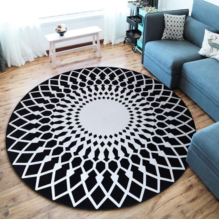 Tapis Rond Salon Chambre F180cm Grand Tapis Simple Decoration Chambre Salon Salle Antiderapant Motif Geometrique Polyester Noir