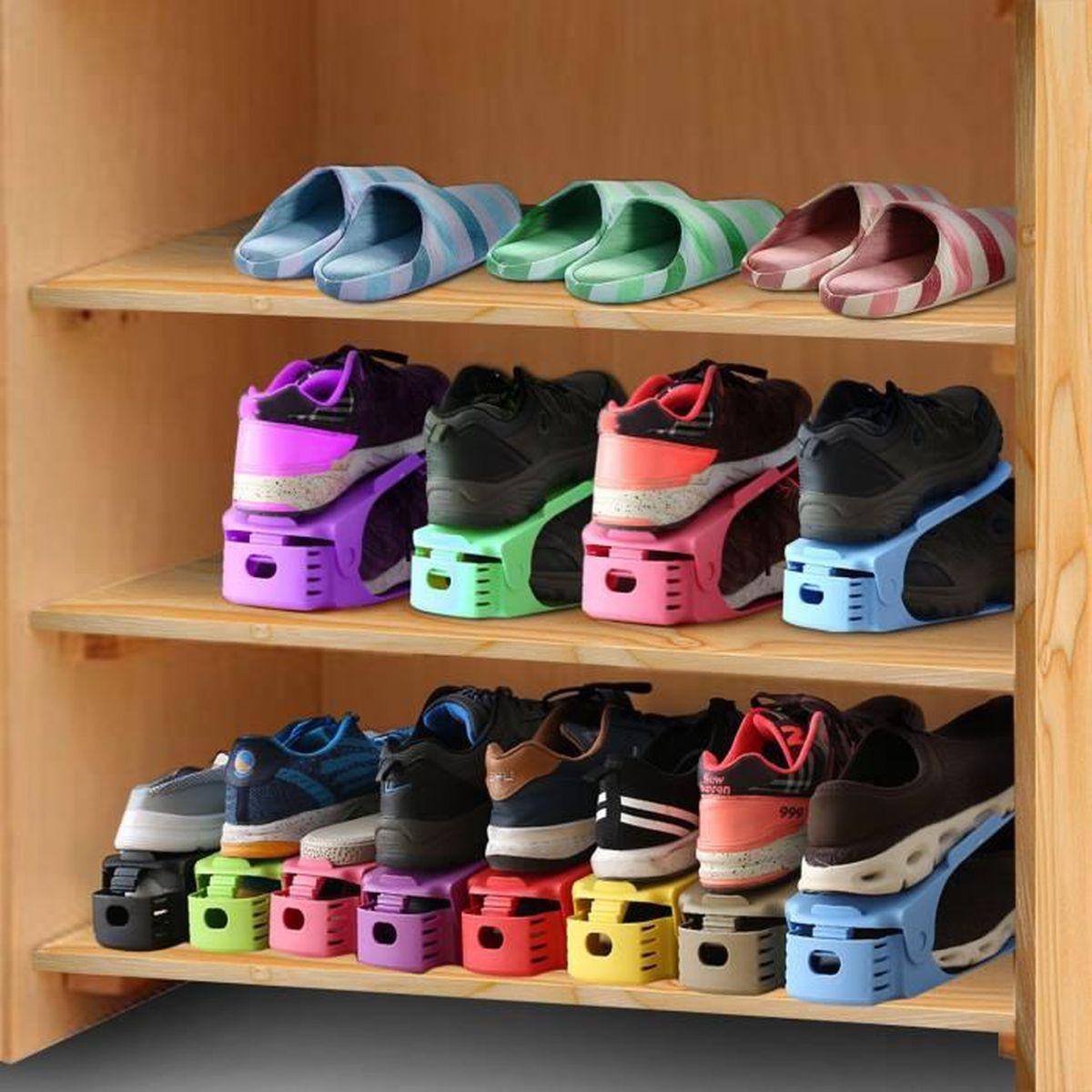 Rangement À Chaussures Gain De Place support pour empiler les chaussures réglable – set