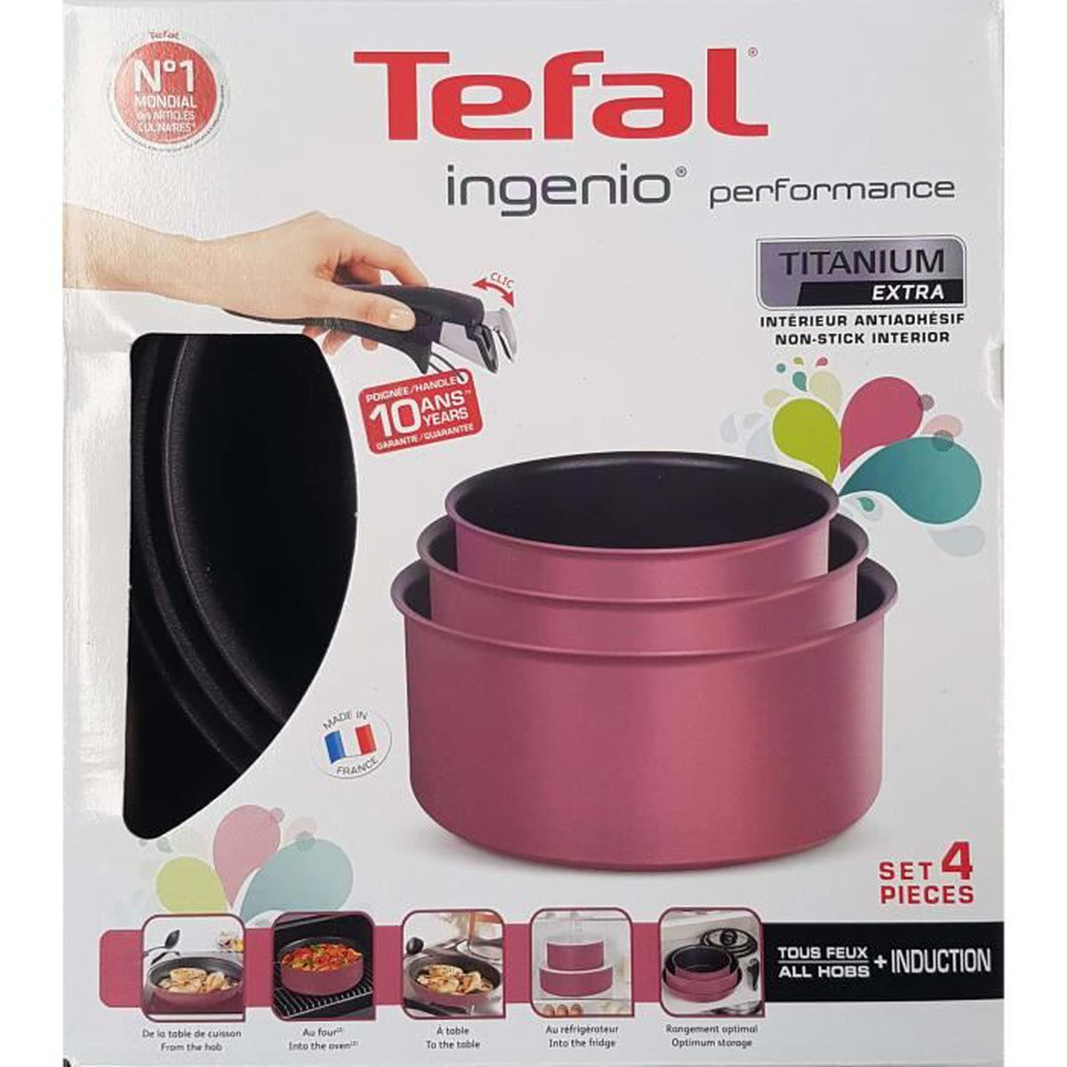tefal ing nio performance l6569808 set de 3 casseroles 16 18 20 cm une poign e amovible. Black Bedroom Furniture Sets. Home Design Ideas