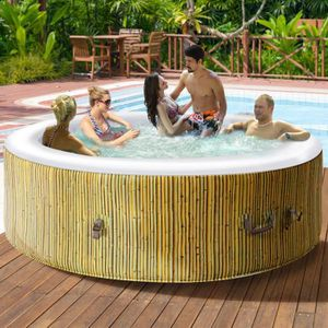 SPA COMPLET - KIT SPA COSTWAY Jacuzzi Spa Gonflable Rond 6 Personnes Ø20