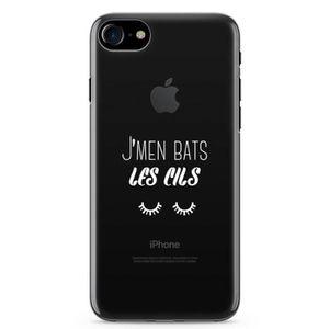FAUX CILS Coque iPhone 8 / 8 Plus J'men bas les cils Blanc