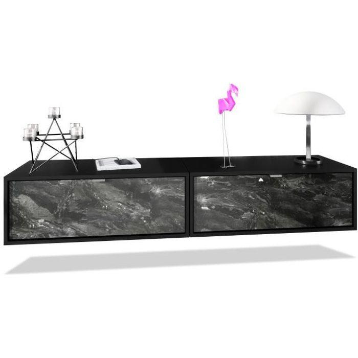 Ensemble de 2 set meuble TV Lana 80 armoire murale lowboard 80 x 29 x 37 cm, caisson en noir mat, façades en Marbre Graphite