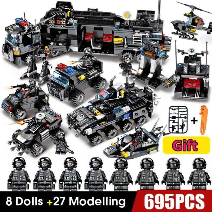 828 Pcs Ville Police SWAT Camion Blocs de Construction Ensembles Navire Véhicule INGs Technic DIY Briques Playmobil Jouets Pour Garç