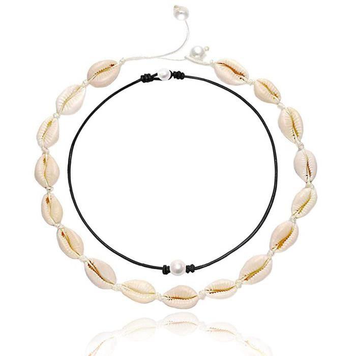 Collier R5UQD collier ras du cou en nacre pour collier de perles chaîne noire cauris puka coquillage collier de perles tour de cou p