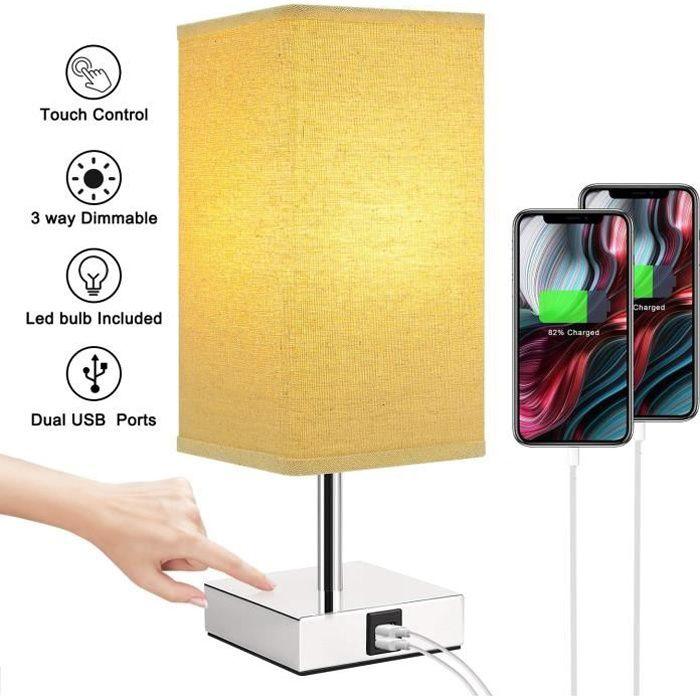 Kakanuo Lampe de chevet Tactile, Lampe de Table Dimmable,avec LED E27 5W et 2 Ports de Charge USB Utiles, Lampe de Chevet Moderne po