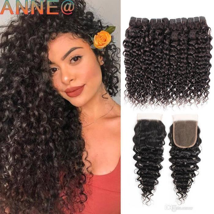 4 tissage Brésilien Water Curly Hair With 4*4 Closure-Free Part 100% Human Hair Extensions de cheveux 14-16-18-20-+-16-