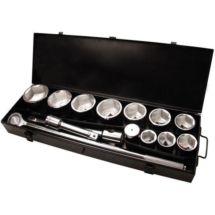 COFFRET POIDS LOURDS CARRE 1 POUCE - DOUILLES 6 PANS 36 A 80 MM
