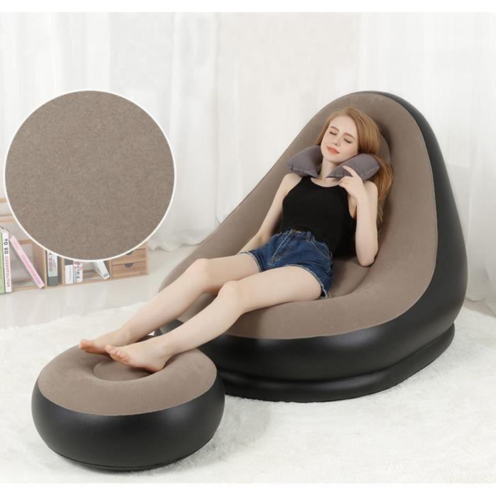 Canapé Gonflable avec Pouf, Pompe Fauteuil Relax Portatif Chaise Gonflable de Chambre pour Maison et Voyages, 105*92cm, Gris