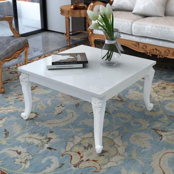 Table basse Carré 80 x 80 x 42 cm Laquée Blanc
