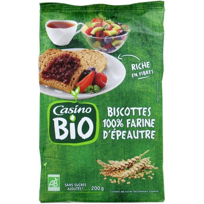 CASINO Biscottes à l'Epeautre Bio - 200G