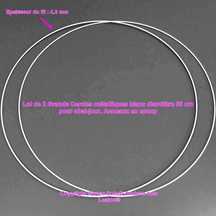 Lot de 2 Grands Cercles métalliques blanc diam. 65 cm pour abat-jour, Anneaux epoxy Attrape rêves - Unique