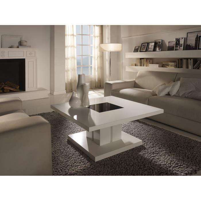 Table basse carrée blanc laqué design DOMI L 90 x P 90 x H 44 cm Blanc