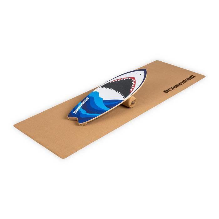 Appareil abdo - BoarderKING Indoorboard Wave Shark - Skateboard Surfboard Trickboard - Planche d'équilibre - Blanc - Bleu