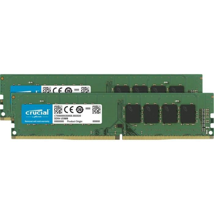 Crucial Ct2k4g4dfs824a 8Go Kit (4Gox2) (Ddr4, 2400 Mt s, Pc4 19200, Single Rank x8, Dimm, 288 Pin) Mémoire