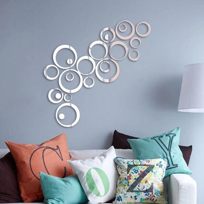 Amovible 3D Moderne Effet Miroir Mur Autocollant Cercle Anneau DIY Art Design Accueil Chambre À Coucher Salon Canapé Décor Stickers