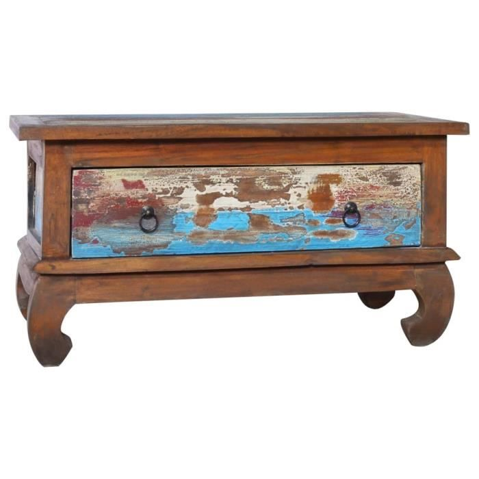 Economique & Top 6394 - Table de salon style Scandinave Scandinave - Table de salon Table Café 80x50x40 cm Bois de teck récupéré