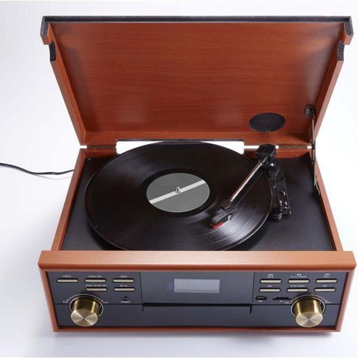 BIG BEN TD113SPS Tourne Disque Radio-CD-USB-MP3-Cassette - 3 vitesses : 33/45/78 tours - Affichage LCD - Bass Boost - Couleur Bois