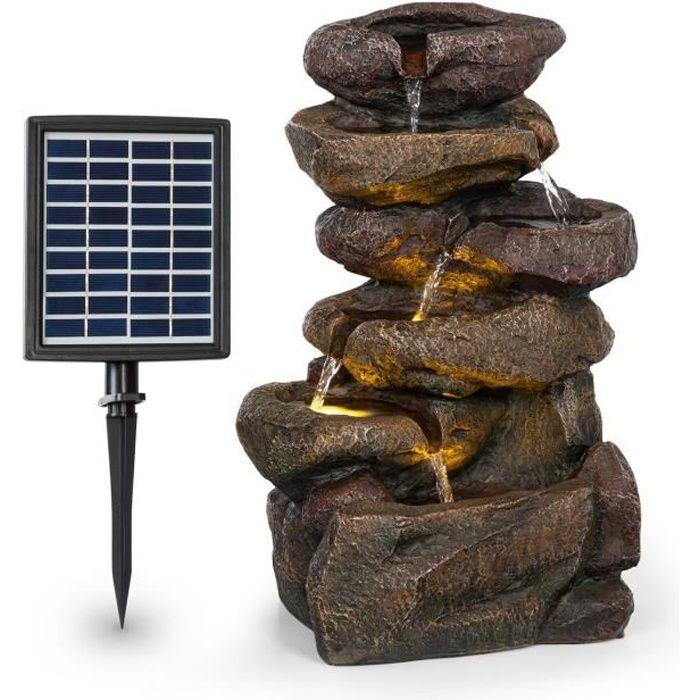 Blumfeldt Savona Fontaine solaire de jardin en polyrésine - Panneau 9V - Batterie autonome 5h - Eclairage LED - Aspect pierre