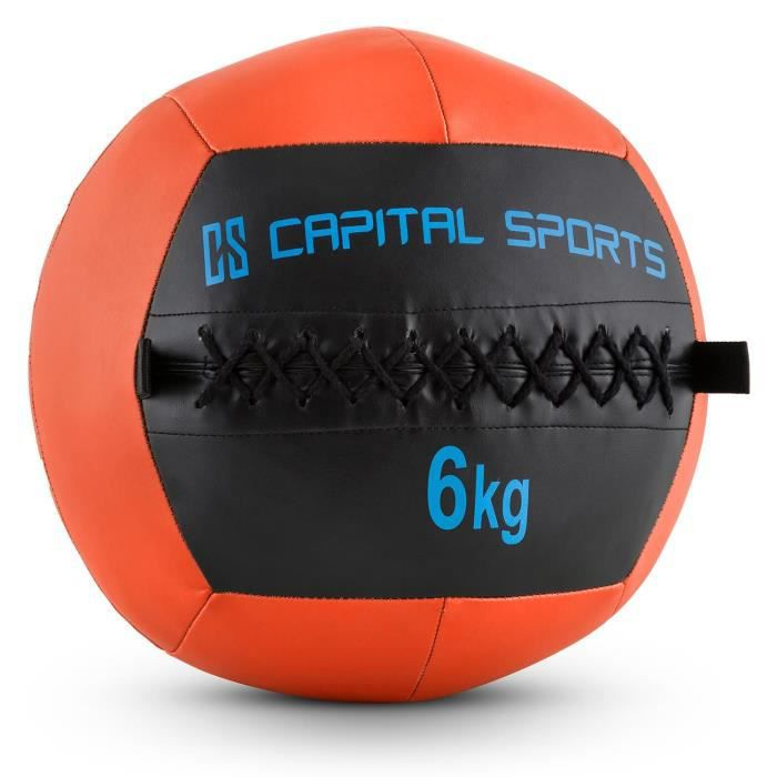 CAPITAL SPORTS Wallba - Medecine ball cuir synthétique pour exercices core & entrainement fitness, cross-training, muscu, MMA- 6kg