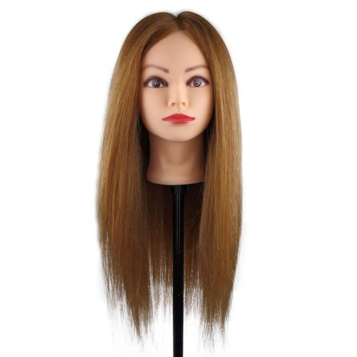 Tête d'apprentissage Tête à Coiffer La Formation Cosmétologie Mannequin Head 26 inch 95% Vrais Cheveux Humains