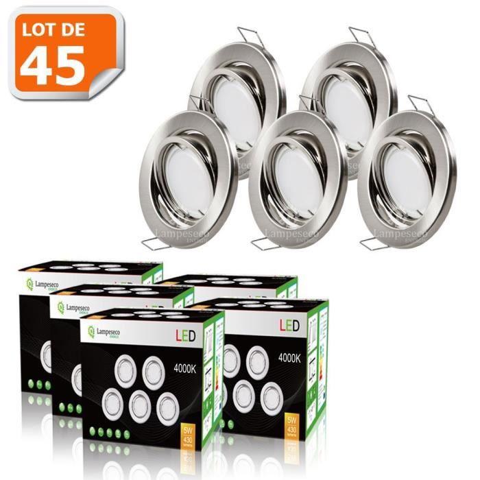 LOT DE 45 SPOT LED ENCASTRABLE COMPLETE ORIENTABLE ALU BROSSE AVEC AMPOULE GU10 230V 5W, BLANC NEUTRE