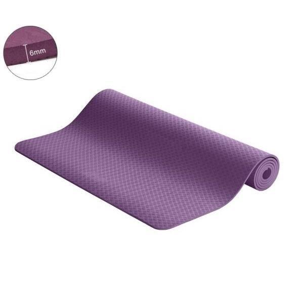 Tapis de Fitness Gym Musculation Antidérapant – Tapis pour Yoga, Pilates Fitness Gymnastique 183 x 61 x 0,6 cm en TPE - Violet